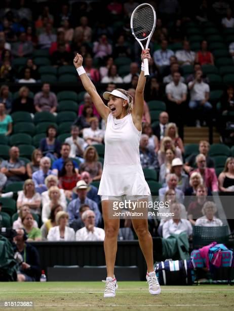 Elena Vesnina celebrates winning the Ladies Doubles final with Ekaterina Makarova on day twelve of the Wimbledon Championships at The All England...
