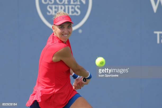 Elena Vesnina hits a backhand during the Western Southern Open at the Lindner Family Tennis Center in Mason Ohio on August 16 2017