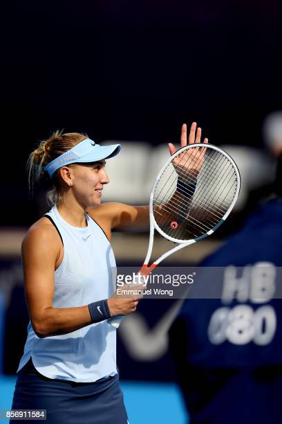 Elena Vesnina of Russia celebrates after winning the match against YingYing Duan of China on day four of the 2017 China Open at the China National...
