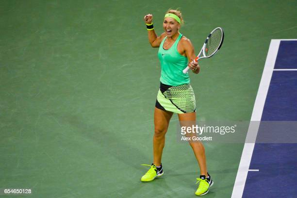 Elena Vesnina of Russia celebrates match point after defeating Kristina Mladenovic of France in the women's semifinal on day 12 during the BNP...