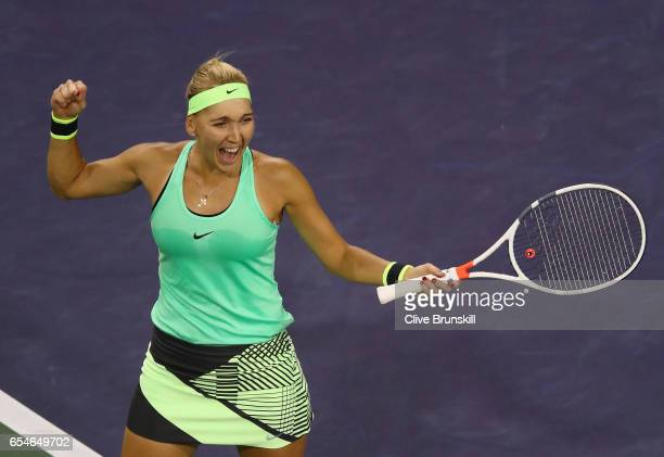 Elena Vesnina of Russia celebrates match point against Kristina Mladenovic of France in their semi final match during day twelve of the BNP Paribas...