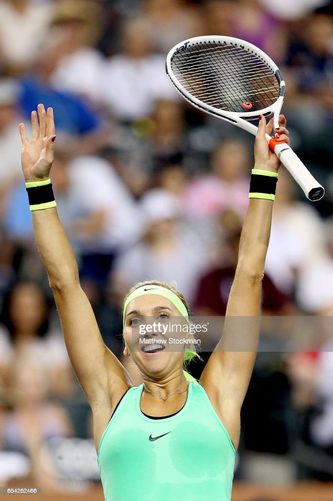 Elena Vesnina of Russia celebrates match point against Venus Williams during the BNP Paribas Open at the Indian Wells Tennis Garden on March 16, 2017 in Indian Wells, California.