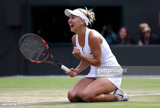 Elena Vesnina of Russia celebrates victory during the Ladies Singles Quarter Finals match against Dominika Cibulkova of Slovakia on day eight of the...