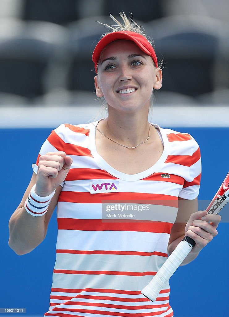 <a gi-track='captionPersonalityLinkClicked' href=/galleries/search?phrase=Elena+Vesnina&family=editorial&specificpeople=552598 ng-click='$event.stopPropagation()'>Elena Vesnina</a> of Russia celebrates winning match point in her quarter final match against Jarmila Gajdosova of Australia during day seven of the Hobart International at Domain Tennis Centre on January 10, 2013 in Hobart, Australia.