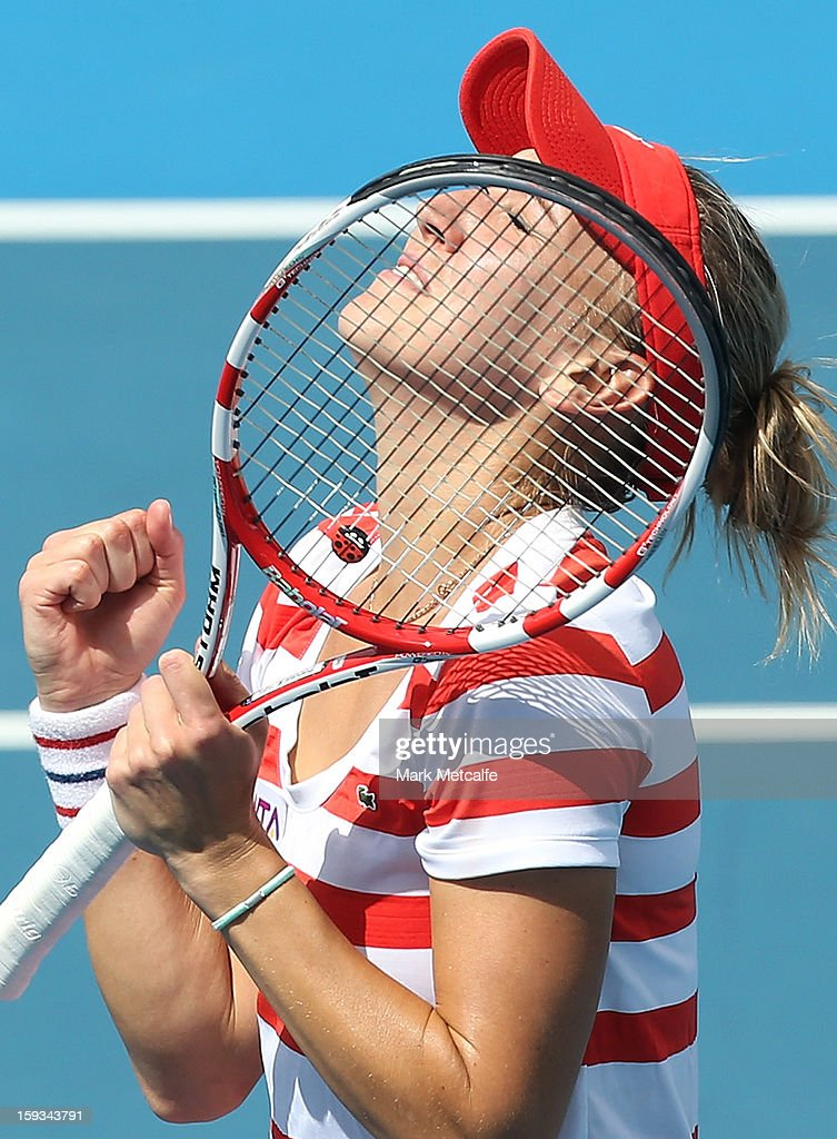 Elena Vesnina of Russia celebrates winning match point in her singles final match against Mona Barthel of Germany during day nine of the Hobart International at Domain Tennis Centre on January 12, 2013 in Hobart, Australia.