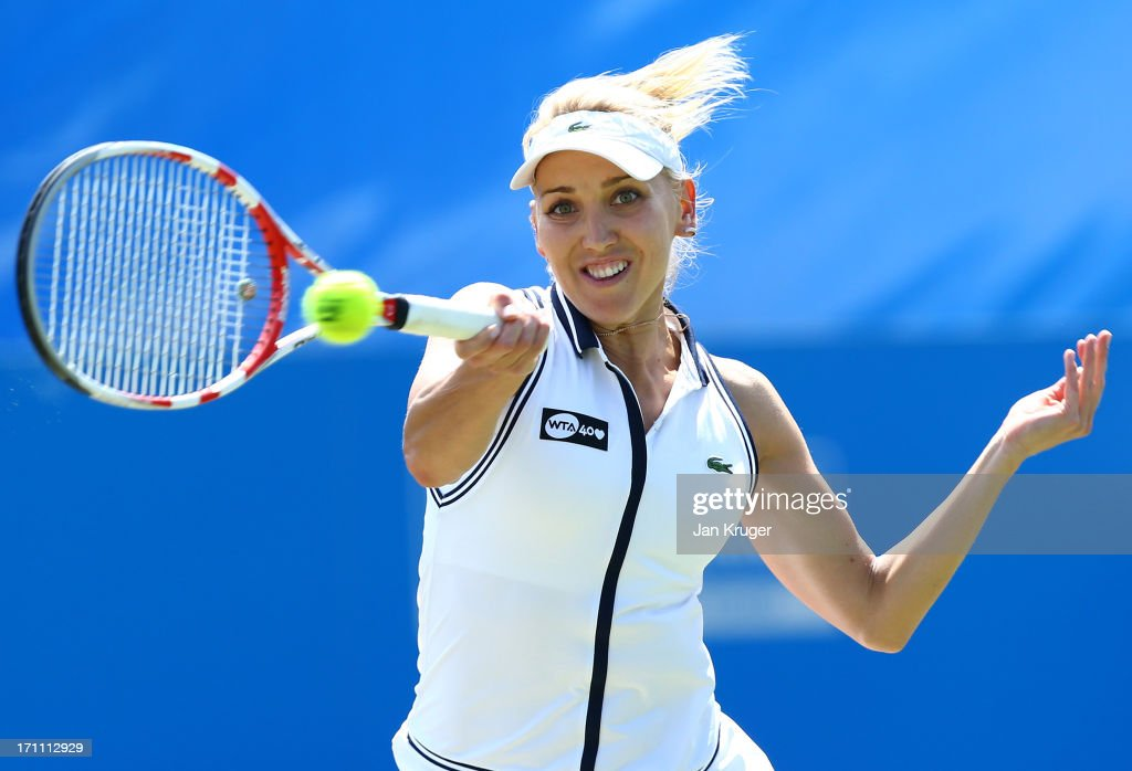 <a gi-track='captionPersonalityLinkClicked' href=/galleries/search?phrase=Elena+Vesnina&family=editorial&specificpeople=552598 ng-click='$event.stopPropagation()'>Elena Vesnina</a> of Russia in action during her women's singles final match against Jamie Hampton of the USA on day eight of the AEGON International tennis tournament at Devonshire Park on June 22, 2013 in Eastbourne, England.
