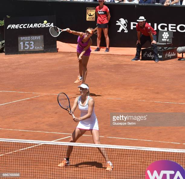 Elena Vesnina of Russia in action during the WTA Doubles Final match between YungJan Chan of Taiwan and Martina Hingis of Switzerlandand and...