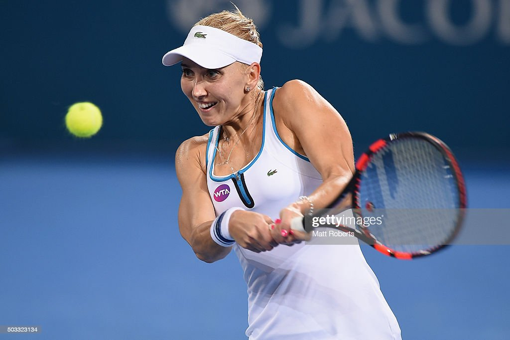 <a gi-track='captionPersonalityLinkClicked' href=/galleries/search?phrase=Elena+Vesnina&family=editorial&specificpeople=552598 ng-click='$event.stopPropagation()'>Elena Vesnina</a> of Russia plays a backhand against Victoria Azarenka of Belarus during day two of the 2016 Brisbane International at Pat Rafter Arena on January 4, 2016 in Brisbane, Australia.
