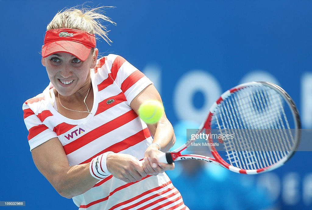 Elena Vesnina of Russia plays a backhand in her singles final match against Mona Barthel of Germany during day nine of the Hobart International at Domain Tennis Centre on January 12, 2013 in Hobart, Australia.
