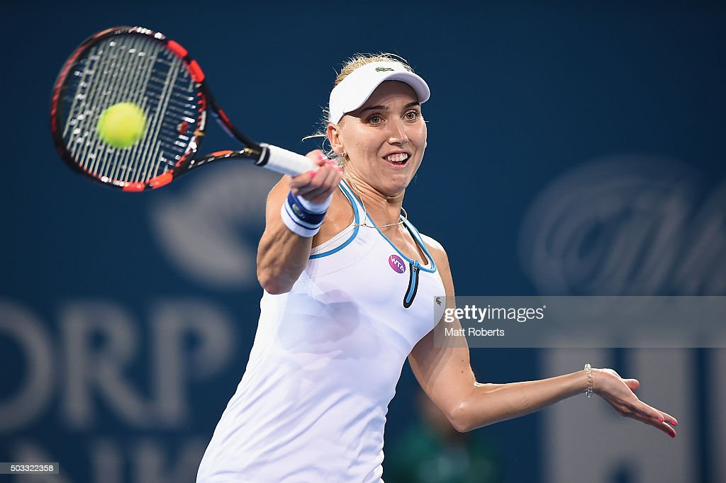 Elena Vesnina of Russia plays a forehand against Victoria Azarenka of Belarus during day two of the 2016 Brisbane International at Pat Rafter Arena on January 4, 2016 in Brisbane, Australia.