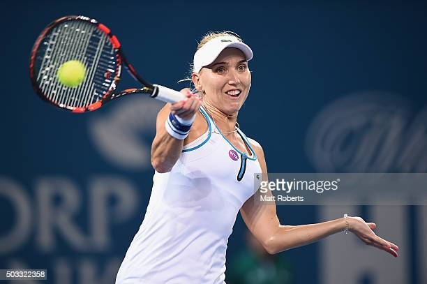 Elena Vesnina of Russia plays a forehand against Victoria Azarenka of Belarus during day two of the 2016 Brisbane International at Pat Rafter Arena...