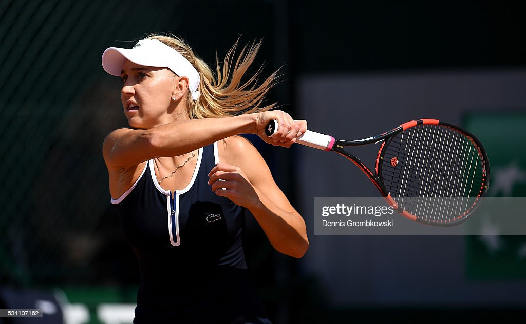 <a gi-track='captionPersonalityLinkClicked' href=/galleries/search?phrase=Elena+Vesnina&family=editorial&specificpeople=552598 ng-click='$event.stopPropagation()'>Elena Vesnina</a> of Russia plays a forehand during the Women's Singles second round match against Shelby Rogers of the United States at Roland Garros on May 25, 2016 in Paris, France.