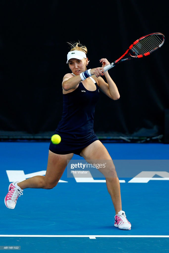 Elena Vesnina of Russia plays a forehand in her quarterfinal match against Venus Williams of the USA during day four of the 2015 ASB Classic at the...