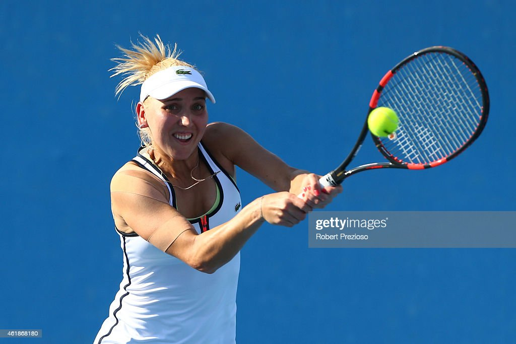 <a gi-track='captionPersonalityLinkClicked' href=/galleries/search?phrase=Elena+Vesnina&family=editorial&specificpeople=552598 ng-click='$event.stopPropagation()'>Elena Vesnina</a> of Russia plays a forehand in their first round doubles match with Ekaterina Makarova of Russia against Madison Keys of the United States and Alison Riske of the United States during day three of the 2015 Australian Open at Melbourne Park on January 21, 2015 in Melbourne, Australia.
