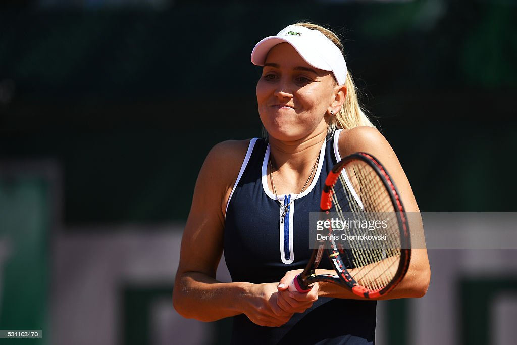 <a gi-track='captionPersonalityLinkClicked' href=/galleries/search?phrase=Elena+Vesnina&family=editorial&specificpeople=552598 ng-click='$event.stopPropagation()'>Elena Vesnina</a> of Russia reacts during the Women's Singles second round match against Shelby Rogers of the United States at Roland Garros on May 25, 2016 in Paris, France.