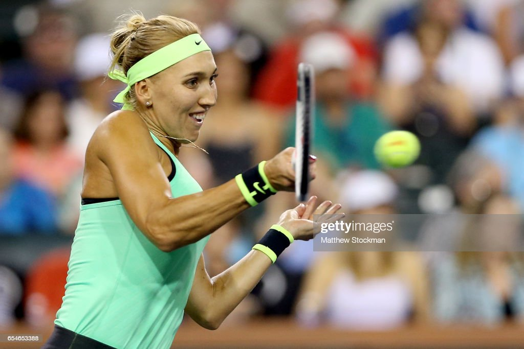 Elena Vesnina of Russia returns a a shot to Kristina Mladenovic of France during the semifinals of the BNP Paribas Open at the Indian Wells Tennis Garden on March 17, 2017 in Indian Wells, California.