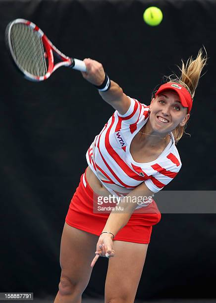 Elena Vesnina of Russia serves in her quarter final match against Agnieszka Radwanska of Poland during day four of the 2013 ASB Classic on January 3...