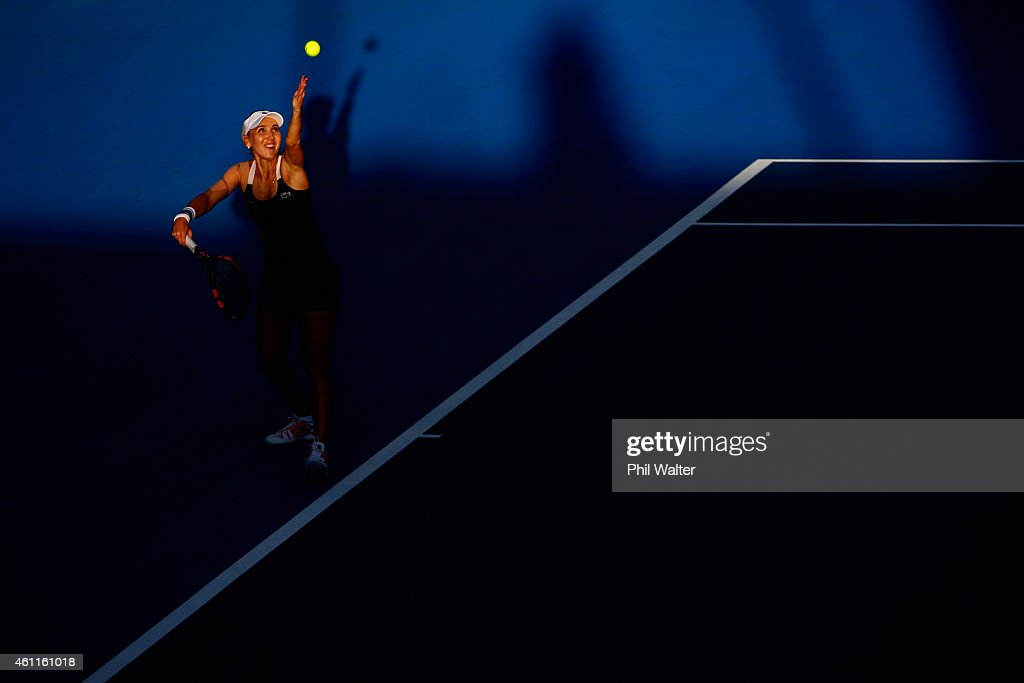 Elena Vesnina of Russia serves in her quarterfinal match against Venus Williams of the USA during day four of the 2015 ASB Classic at the ASB Tennis...