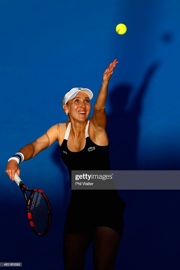 <a gi-track='captionPersonalityLinkClicked' href=/galleries/search?phrase=Elena+Vesnina&family=editorial&specificpeople=552598 ng-click='$event.stopPropagation()'>Elena Vesnina</a> of Russia serves in her quarterfinal match against Venus Williams of the USA during day four of the 2015 ASB Classic at the ASB Tennis Centre on January 8, 2015 in Auckland, New Zealand.