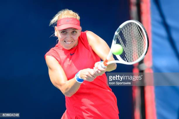 Elena Vesnina of Russian Federation returns the ball during her second round match of the 2017 Rogers Cup tennis tournament on August 9 at Aviva...
