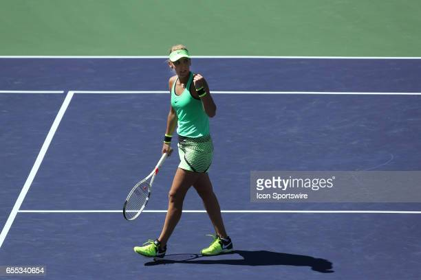 Elena Vesnina reacts after winning the second set during the finals of the BNP Paribas Open on March 19 at the Indian Wells Tennis Gardens in Indian...