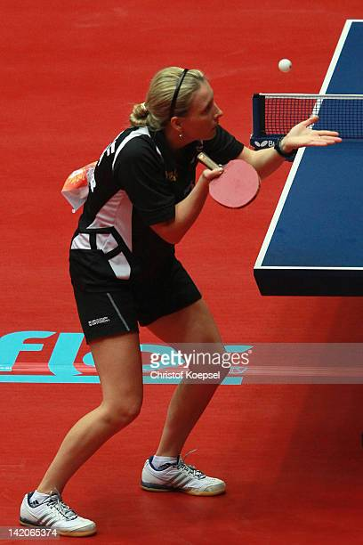 Elena Waggermayer of Austria serves during her match against Li Jie of Netherlands during the LIEBHERR table tennis team world cup 2012 championship...