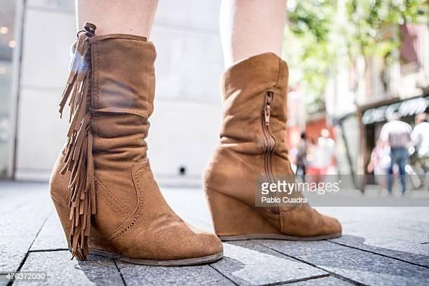 Elena wears Mari paz boots Stradivarious dress and Decathlon handbag on June 8 2015 in Madrid Spain