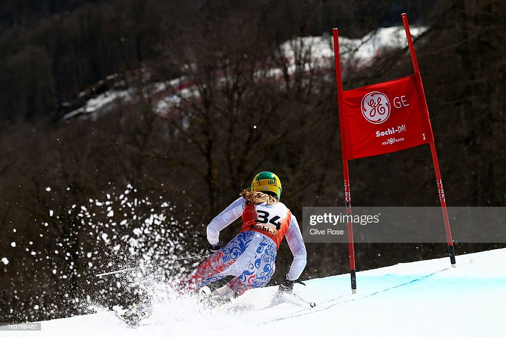 Elena Yakovishina of Russia competes in the Women's Giant Slalom during the FIS Alpine Skiing European Cup Finals at Rosa Khutor Alpine Center on March 14, 2013 in Sochi, Russia.