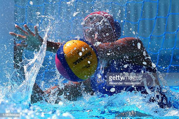 Eleni Kouvdou goalie of Greece safes the ball during the Women's Water Polo classification 5th/8th round match between Canada and Greece during day...