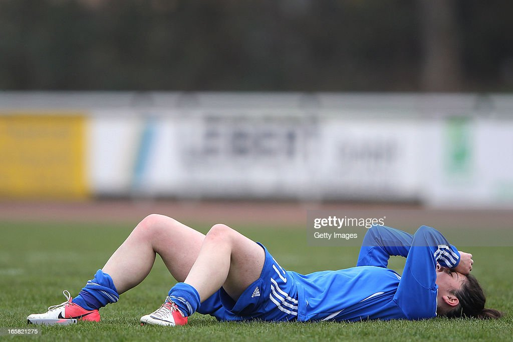 Eleni Markou of Greece reacts after losing the Women's UEFA U19 Euro Qualification match between U19 Germany and U19 Greece at Sportzentrum Sued on April 6, 2013 in Kirchheim, Germany.