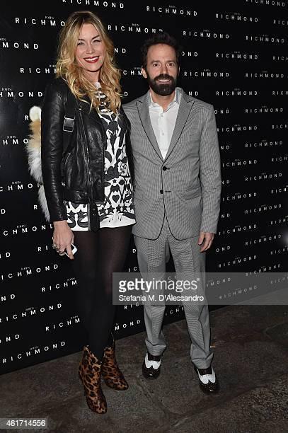 Elenoire Casalegno and Sebastiano Lombardi attends the John Richmond Show during the Milan Menswear Fashion Week Fall Winter 2015/2016 on January 18...
