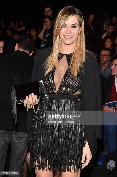 Elenoire Casalegno pose at the Elisabetta Franchi SHOW during Milan Fashion Week Womenswear Fall/Winter 2016 on February 26 2016 in Milan Italy