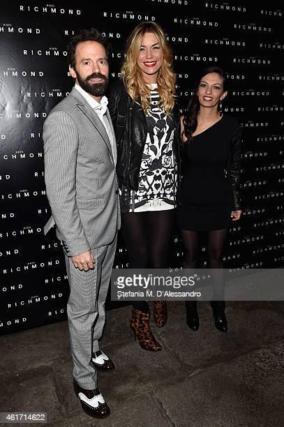 Elenoire Casalegno Sebastiano Lombardi and Alessandra Moschillo attend the John Richmond Show during the Milan Menswear Fashion Week Fall Winter...