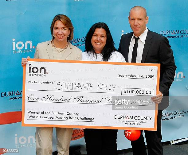 Eleo Hensleigh chief marketing officer for ION Media Networks Stephanie Kelly 42 of Kearny NJ and actor Hugh Dillon celebrate Stephanie Kelly's...