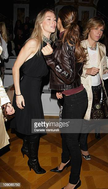 Eleonora Abbagnato and Elisabetta Canalis greet as they attend Roberto Cavalli show as part of Milan Fashion Week Spring Summer 2008 on September 26...