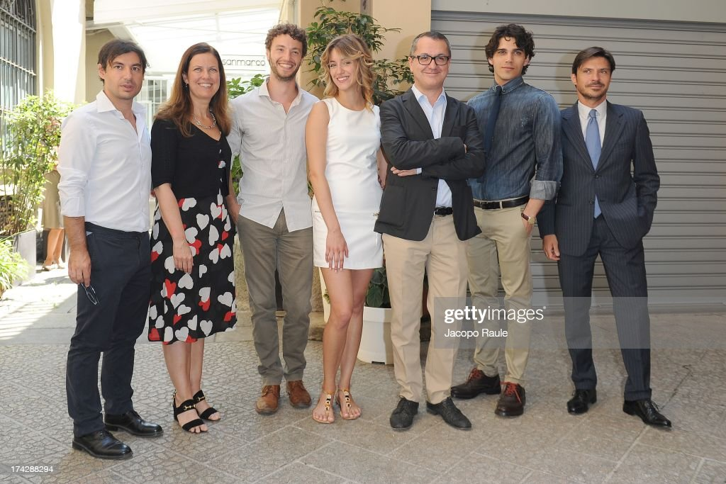 Eleonora Andreatta, Josafat Vagni, Giulia Carpaneto, Luca Dini and Giuseppe Maggio attend 'Vent'Anni Prima' press conference on July 23, 2013 in Milan, Italy. Vanity Fair and Rai Fiction present today the first mag series.