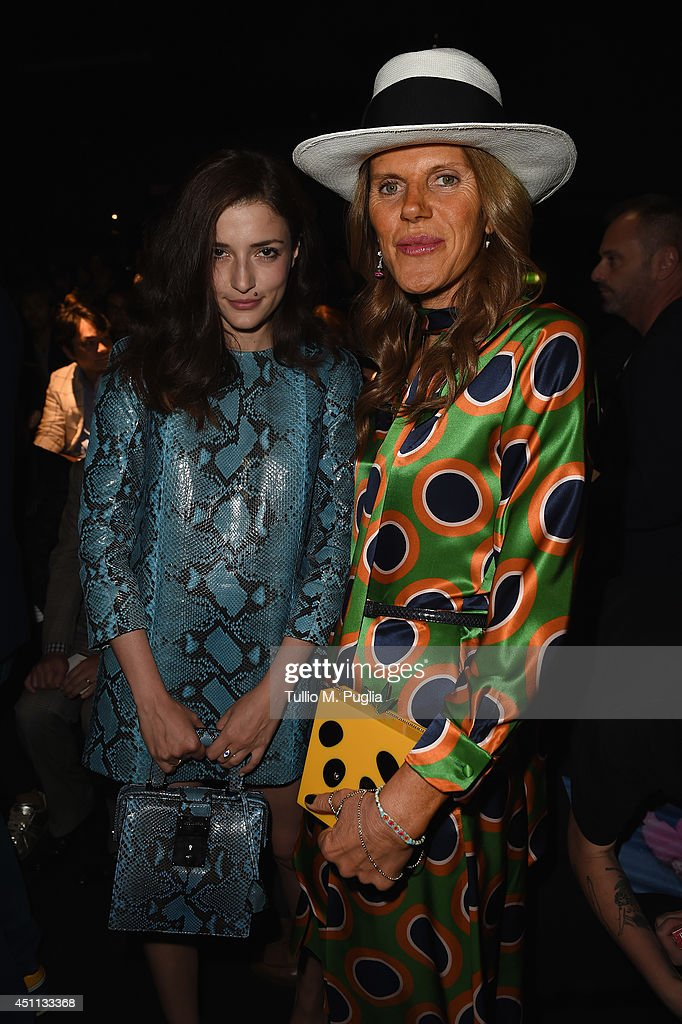 Eleonora Carisi and Anna Dello Russo attend DSquared2 show during Milan Menswear Fashion Week Spring Summer 2015 on June 24, 2014 in Milan, Italy.