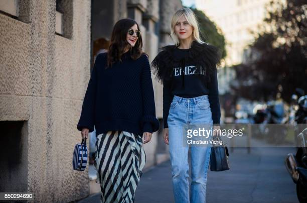 Eleonora Carisi and Linda Tol is seen outside Alberta Ferretti during Milan Fashion Week Spring/Summer 2018 on September 20 2017 in Milan Italy