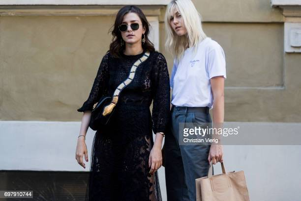 Eleonora Carisi and Linda Tol is seen outside Malibu 1992 during Milan Men's Fashion Week Spring/Summer 2018 on June 19 2017 in Milan Italy