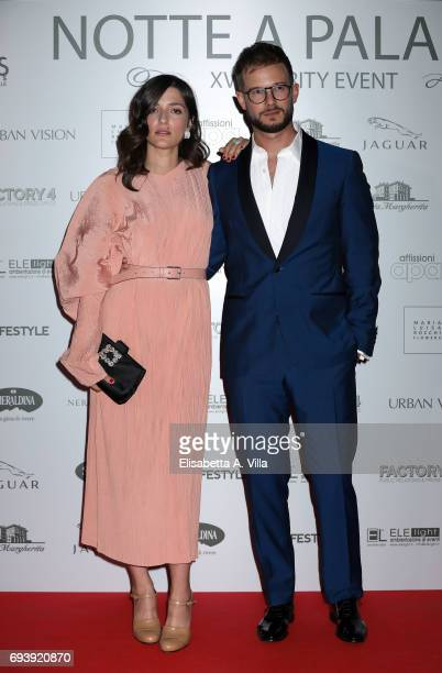 Eleonora Carisi and Paolo Stella attend Anlaids Gala at Palazzo Doria Pamphilj on June 8 2017 in Rome Italy