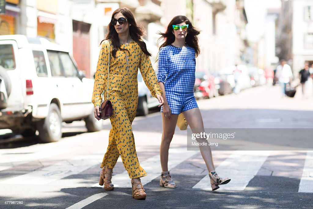 Eleonora Carisi and Valentina Siragusa during Milan Men's Fashion Week Spring/Summer 2016 on June 20 2015 in Milan Italy Valentina wears Italia...