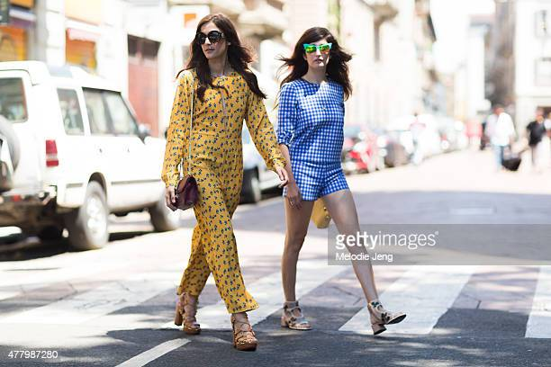 Eleonora Carisi and Valentina Siragusa during Milan Men's Fashion Week Spring/Summer 2016 on June 20 2015 in Milan Italy Valentina wears Italia...