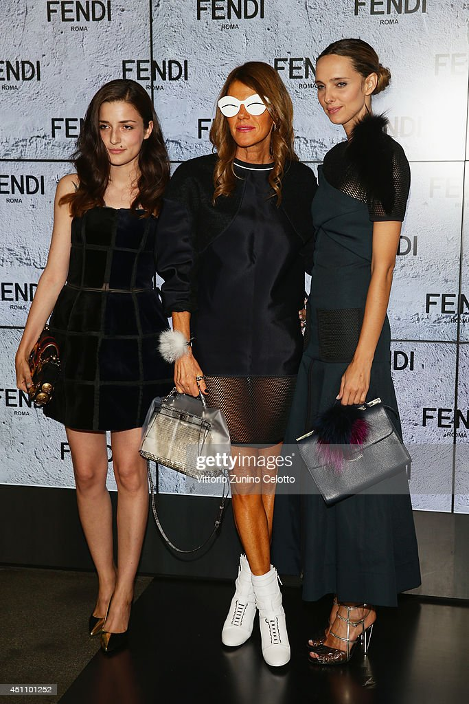 Eleonora Carisi, Anna Dello Russo and Candela Novembre attend the Fendi show during Milan Menswear Fashion Week Spring Summer 2015 on June 23, 2014 in Milan, Italy.