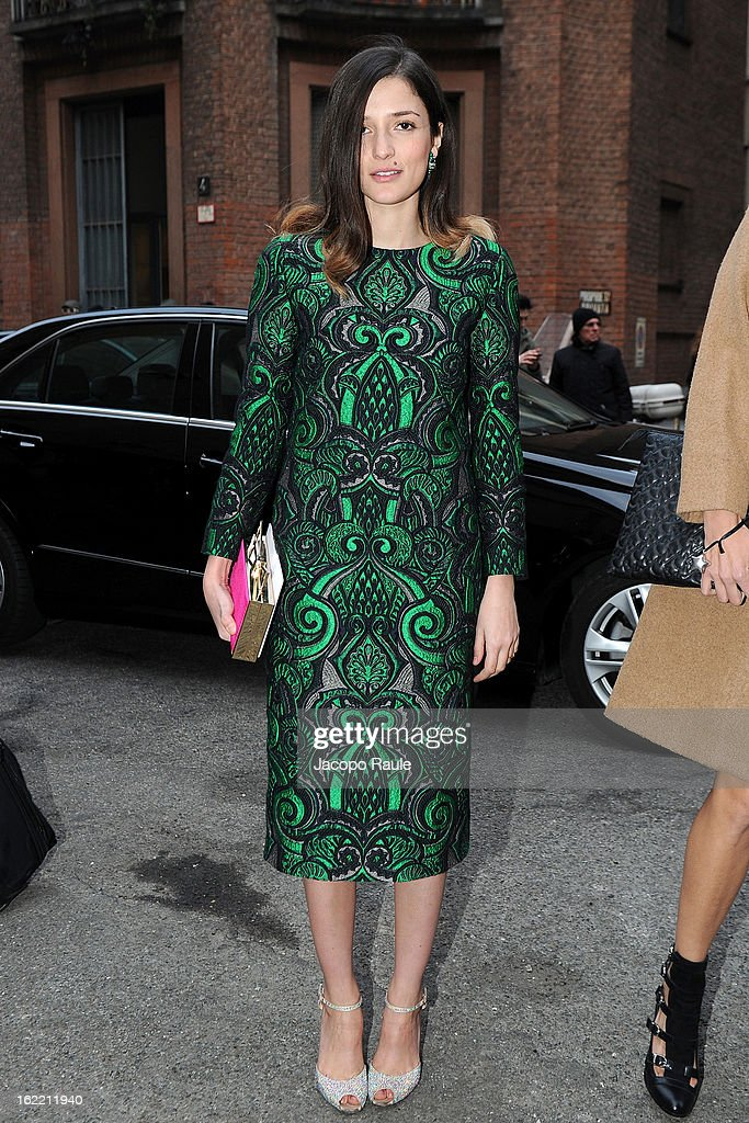 Eleonora Carisi arrives the Alberta Ferretti show during Milan Fashion Week Womenswear Fall/Winter 2013/14 on February 20, 2013 in Milan, Italy.