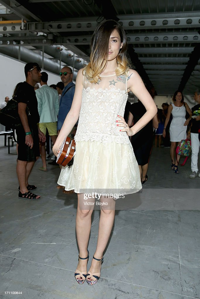 Eleonora Carisi attends the Costume National Homme show during Milan Menswear Fashion Week Spring Summer 2014 on June 22, 2013 in Milan, Italy.