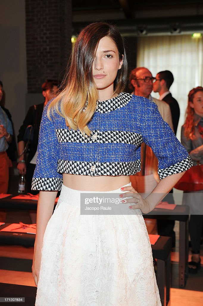 Eleonora Carisi attends the Missoni Collection show during Milan Menswear Fashion Week Spring Summer 2014 on June 23, 2013 in Milan, Italy.