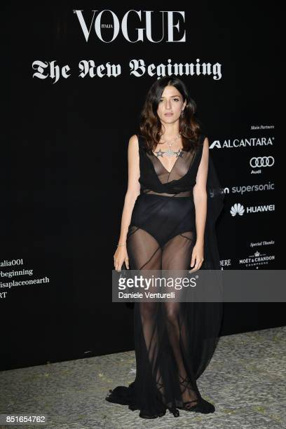 Eleonora Carisi attends the Vogue Italia 'The New Beginning' Party during Milan Fashion Week Spring/Summer 2018 on September 22 2017 in Milan Italy
