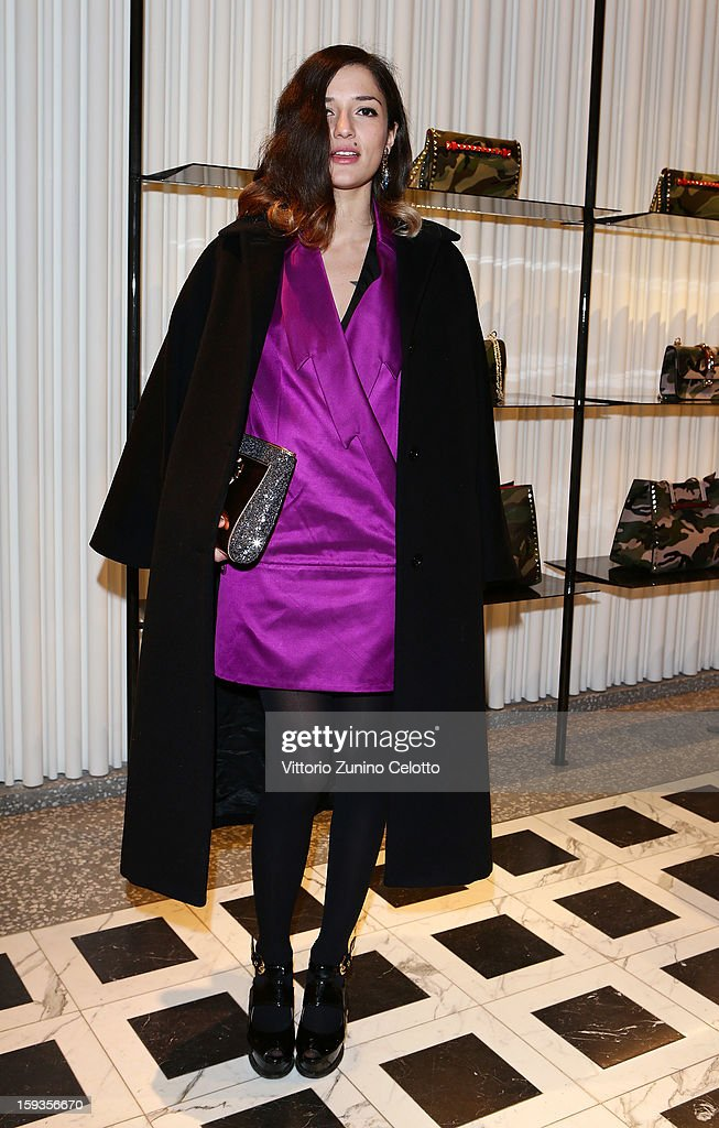 Eleonora Carisi attends Valentino Cocktail Party as part of Milan Fashion Week Menswear Autumn/Winter 2013 on January 12, 2013 in Milan, Italy.