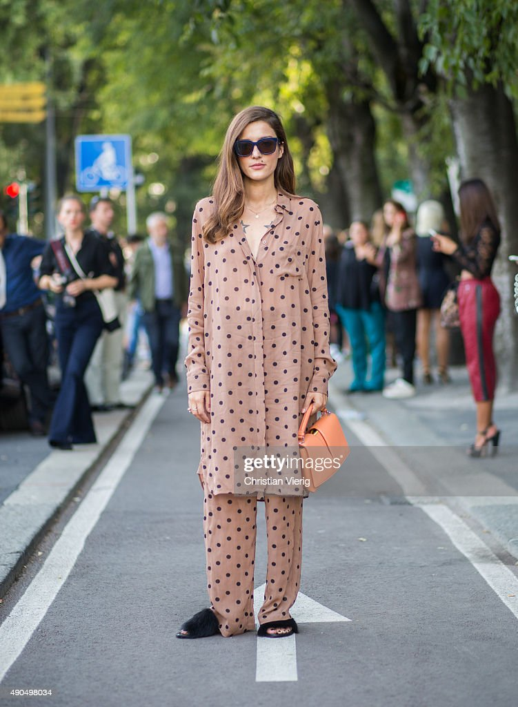 Eleonora Carisi during Milan Fashion Week Spring/Summer 16 on September 26 2015 in Milan Italy
