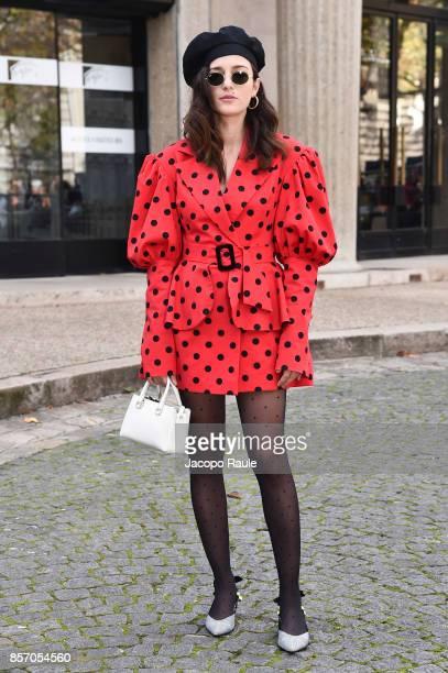 Eleonora Carisi is seen arriving at Miu Miu show during Paris Fashion Week Womenswear Spring/Summer 2018 on October 3 2017 in Paris France